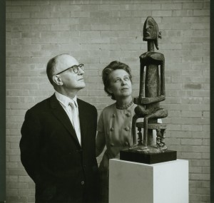 Dominique and John de Menil, 1967, pictured with Seated Figure, Mali, Dogon. Photo by Hickey-Robertson, Houston, courtesy of the Menil Collection, Houston.