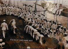 The deck of the USS Texas not only served as a battle front, but also offered men an escape from the stress of months at sea, as this centipede race on the ship's deck illustrates.