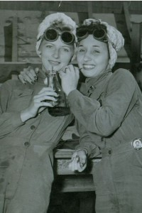 Bennice Vick Russell and sister-in-law Marjorie Vick share a soda during a break at Brown Shipping Company, located across the channel from Todd Houston, in 1944. Photo courtesy of the National Park Service.
