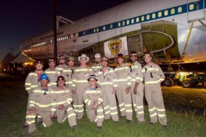 The Palletized crew that made the historic move of the shuttle and the 747 carrier to Space Center Houston.