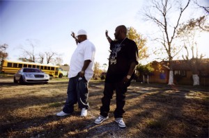 Pimp C (1973-2007) and Bun B of the Houston rap duo UGK, photographed by Peter Beste for Houston Rap.