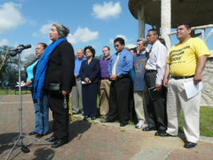 Maria Jimenez speaks at a news conference at Hidalgo Park in Houston's East End to announce a local march and a delegation traveling to Washington, DC, to join the national march for comprehensive immigration reform in 2010. The March for America drew approximately 200,000 participants to the National Mall.