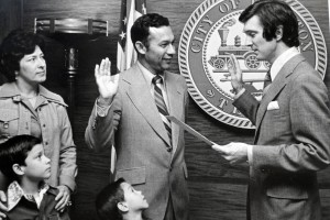 Felix Fragas being sworn in as an elected official.