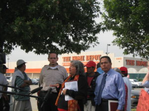 Maria Jimenez speaks at a press conference in front of the Home Depot on Bellaire and Beltway 8 to denounce a crack-down on day laborers' constitutional rights to seek work in public areas in October 2007.