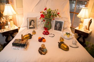 """On-site artists created this alter/shrine in the home Frank Aguilar at """"Exploring Rituals"""" in December 2013."""