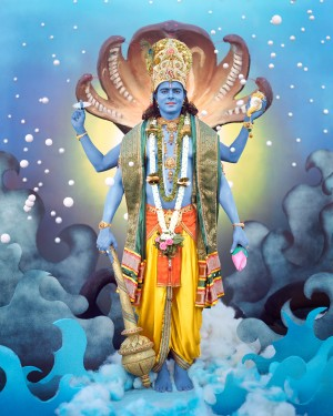 Manjari Sharna portrays Vishnu, an important deity from the Indian subcontinent.