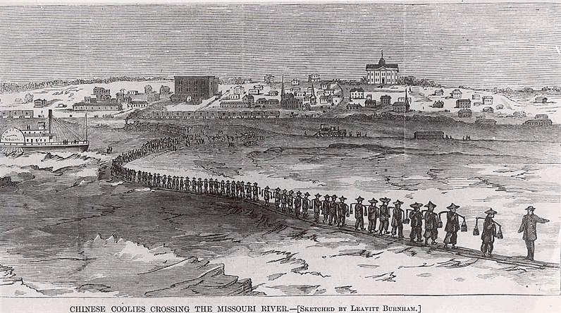Thousands of Chinese crossed the country to follow the work available to them on railroads. This 1870 sketch depicts contract workers crossing the Missouri River in 1870. Photo courtesy of Harper's Weekly.
