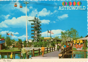 A postcard of Houston that helped inspire the La Rottas to move to Houston