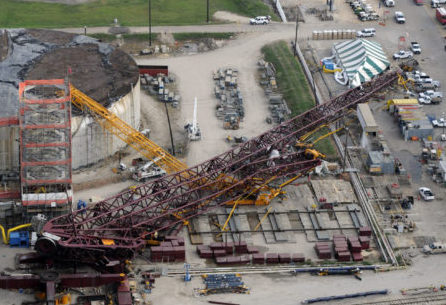 A collapsed crane is visible, Friday afternoon, within the LyondellBasell Houston Refinery, Friday, July 18, 2008, in Houston. ONE TIME USE ONLY! This image may not be resold. No archive. No standalone internet. No social media. No advertising.  CREDIT Steve Ueckert/©Houston Chronicle