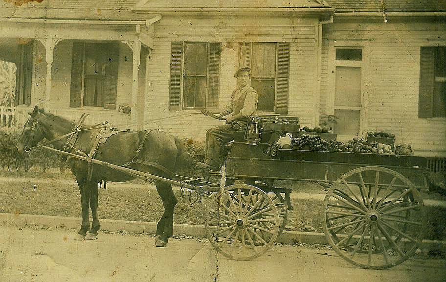 Damon Palermo's grandfather used a mule cart to bring produce to market prior to the widespread use of trucks. Photo courtesy of Damon Palermo.