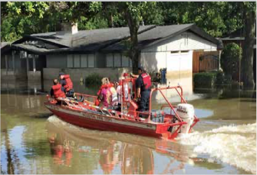 Even as water receded, the Houston Fire Department conducted rescue operations in Meyerland. Photo courtesy of Nomi Solomon.