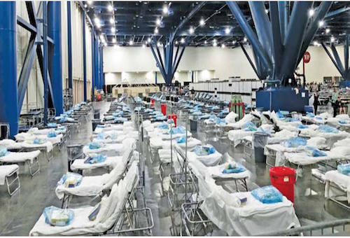 Within a few days of opening the shelter, a Federal Medical Station from the Strategic National Stockpile was set up in GRB to accommodate patients with acute medical needs.  Photo courtesy of the Center for Disease Control