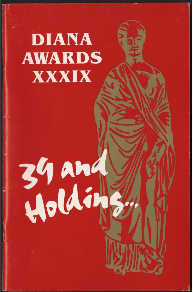 "From the program to the 34th Diana Awards, ""34 and Holding..."" Photo courtesy of The Diana Foundation Records, Special Collections, University of Houston Libraries."