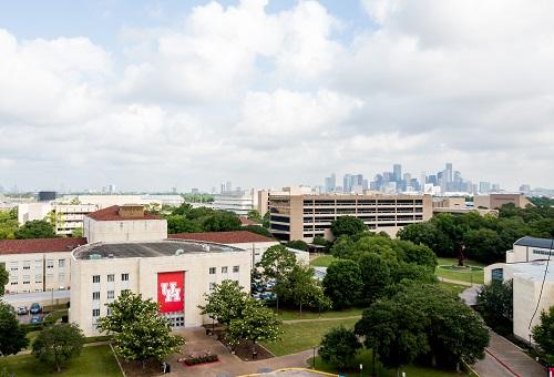 An aerial photo taken of the Ezekiel W. Cullen Building in May 2019.